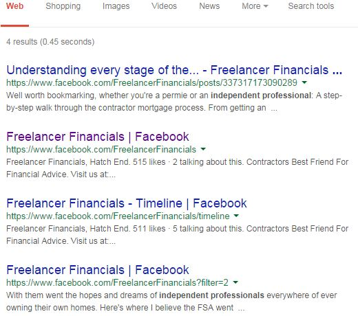 Google Search, Independent Professionals, Facebook.com