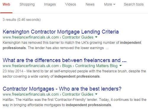 Google Search, Independent Professionals, FreelancerFinancials.uk.com